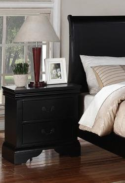 Beautifully Designed Nightstand with 2 Drawers in Black, 22""