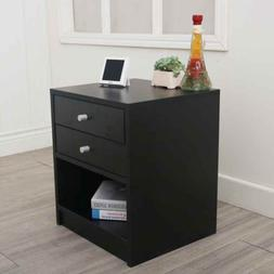 Bedroom Night Stand Bedside Table Furniture Open Storage Dra