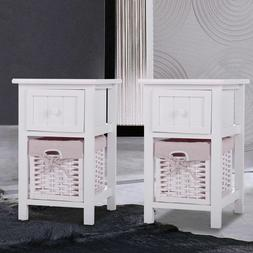 Bedroom Set of 2 Night Stand Bedside Table Furniture Storage