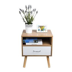 TopHomer Bedside Cabinet Contemporary Style White Drawer Sid