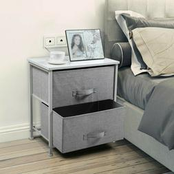Bedside End Table Organizer Bedroom Nightstand with 2 Fabric