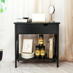 Bedside Night Stand 2 Layers Drawer Sofa End Table Storage O