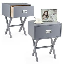 Bedside Nightstand with a drawer and beam Night Stand Wood E