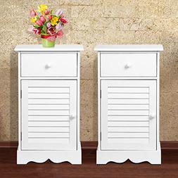 go2buy Bedside Table Cabinets Nightstands with Storage Drawe