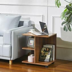 Bedside Table Nightstands Printer Stand with Wheels Wooden S