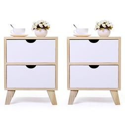 JAXPETY Set of 2 Bedside Table Solid Wood Legs Nightstand wi