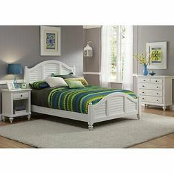 Bermuda Queen Bed, Night Stand, and Chest Brushed White Fini