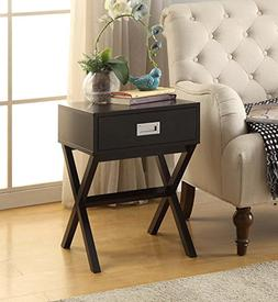 Black Finish Modern X-Shape Accent Side End Table Nighstand