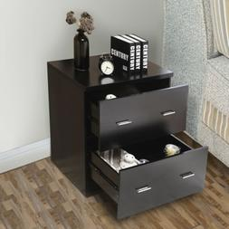Black Lateral Melamine Board Nightstand with Drawers for Hom