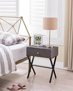 /Black Metal X-Frame Nightstand Side End Table with Drawer