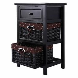 Black Night Stand 3 Tiers 1 Drawer Bedside End Table Organiz