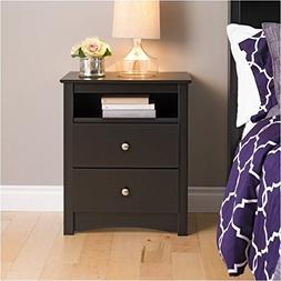 Pemberly Row Black Tall 2 Drawer Night Stand