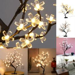 Branch Optic Fiber Flower Tree LEDs Lamp Table Stand Night L