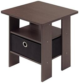 Brown Black End Table Bedroom Night Stand w/Bin Drawer Dark
