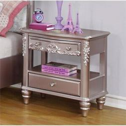 Coaster Caroline 1 Drawer Nightstand in Metallic Lilac