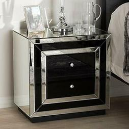Baxton Studio Cecilia Mirrored 2 Drawer Nightstand in Black