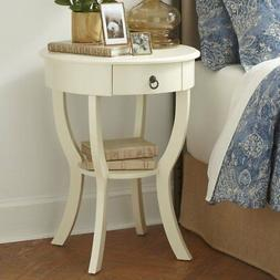 CET00952 OFF WHITE ROUND END TABLE / NIGHT STAND WITH DRAWER