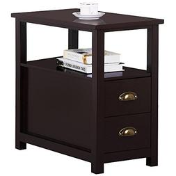 Topeakmart Chairside Table with 2 Drawer and Open Storage Sh