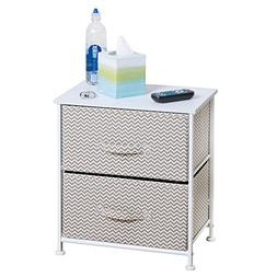mDesign Night Stand/End Table Storage Tower - Sturdy Steel F