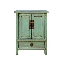 A Small Cabinet Chinese Rustic Light Pastel Green Hardware E