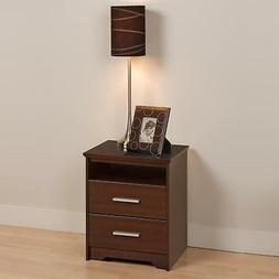Prepac Coal Harbor 2 Drawer Tall Nightstand with Open Shelf