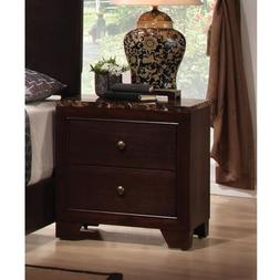 Conner Bed Night Stand Nightstand Walnut Finish Faux Marble