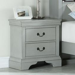 Contemporary Bedroom Side Wooden Night Stand Nightstand w/ 2