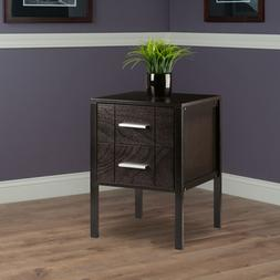 Contemporary End Table 2-Drawer Storage Display Home Office