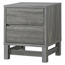 Brassex Contemporary Sturdy 2 Drawers Night Stand in Grey