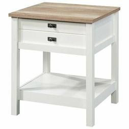 Sauder Cottage Road 1 Drawer Nightstand in Soft White and Li