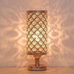HAITRAL Crystal Bedside Table Lamps - Modern Gold Nightstand