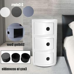 Detachable Round Storage Cabinet End side Bedside Table Nigh