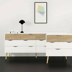 Tvilum Oslo 5 Drawer Chest in White and Oak Finish, 7545649A