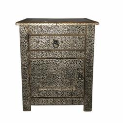 Moroccan Drawer Nightstand End Table Silver Etched Metal Ara