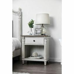 Dual Tone Solid Wood Night Stand with Turned Pillar Style Le