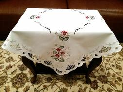 Embroidery Polyester Rose Tablecloth Square Night Stand Side