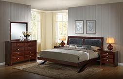 Roundhill Furniture Emily 111 Wood Arch-Leg Bed Group with K