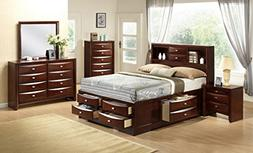 Roundhill Furniture Emily 111 Wood Storage Bed Group, Queen