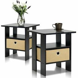 Furinno End Table Bedroom Night Stand, , Espresso, Set Of 2