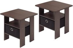 Furinno End Table Bedroom Night Stand, Petite, Dark Brown, S