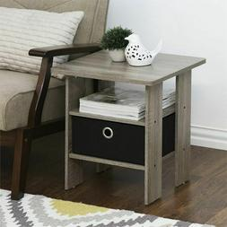 Furinno End Table Bedroom Night stand w/Bin Drawer set of 2