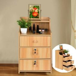 End Table Bedside Nightstand Bedroom Storage Cabinet Lock Ni