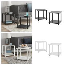 End Tables Set of 2 Shelf Storage Accent Table Night Bed Sta