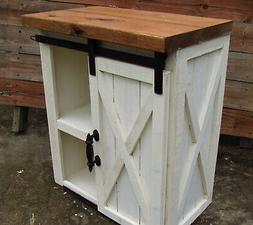 Farmhouse Night stand WITH BARN DOOR Distressed nightstand w