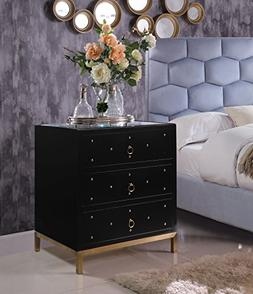 Iconic Home Florence Nightstand Side Table Mirror Glass Top