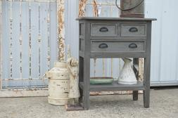 French Country Farmhouse Three Drawer Tiered Nightstand Stan