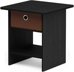 FURINNO Dario End Table/Night Stand Storage Shelf, 1-Pack, A