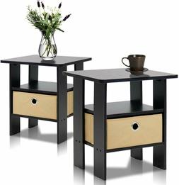 Furinno End Table Bedroom Night Stand, Petite, Espresso, Set