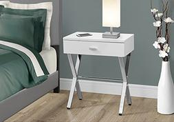 GLOSSY WHITE WITH CHROME METAL FRAME NIGHT STAND/ACCENT TABL