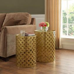 Gold Accent Table Living Room Nested Mirrored Top Nightstand